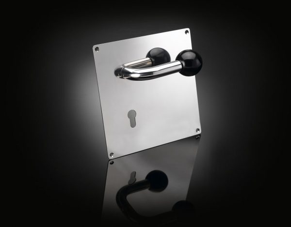 Adolf Loos polished stainless steel lever handle on large backplate ALL02