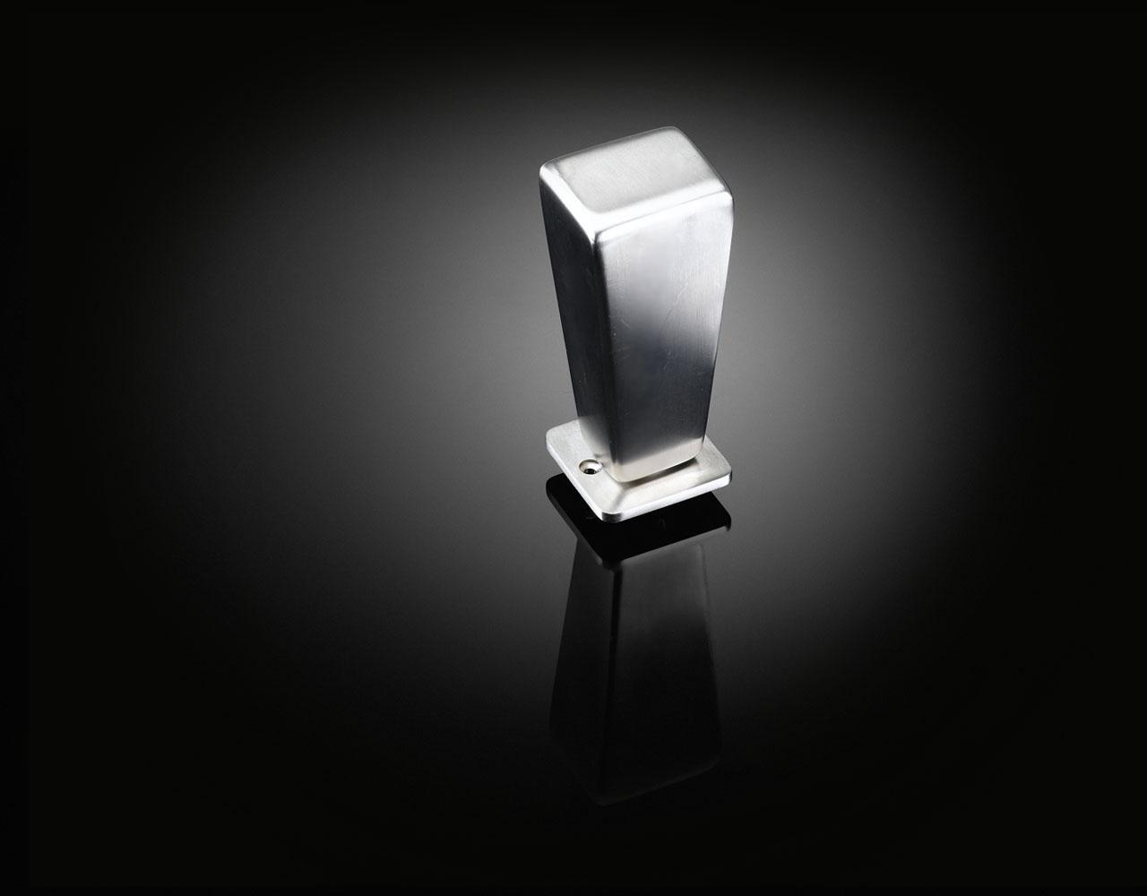 Luxury door knob designed by David Adjaye in satin stainless steel finish supplied by izé DAK01