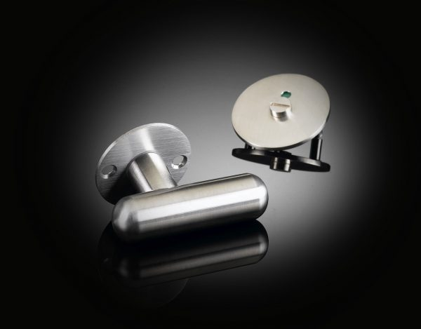 Architect David Adjaye designed custom bathroom set with indicator in satin stainless steel finish from izé DAT03