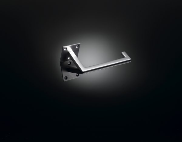 Architect Ian Ritchie designed luxury toilet roll holder in Satin Stainless Steel finish by izé IRA01