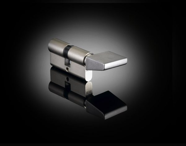 Architect Ian Ritchie designed luxury cylinder thumb turn in satin stainless steel from izé