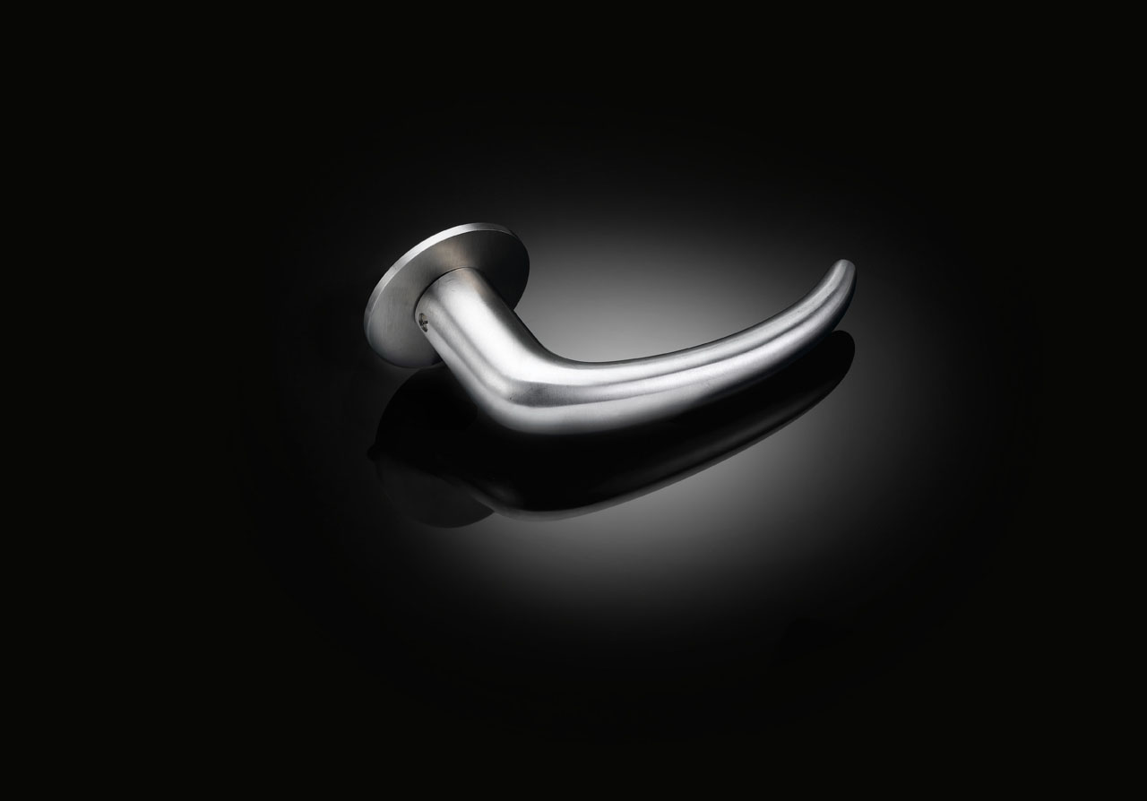 Max Bill custom door handle in satin stainless steel finish by izé MBL01