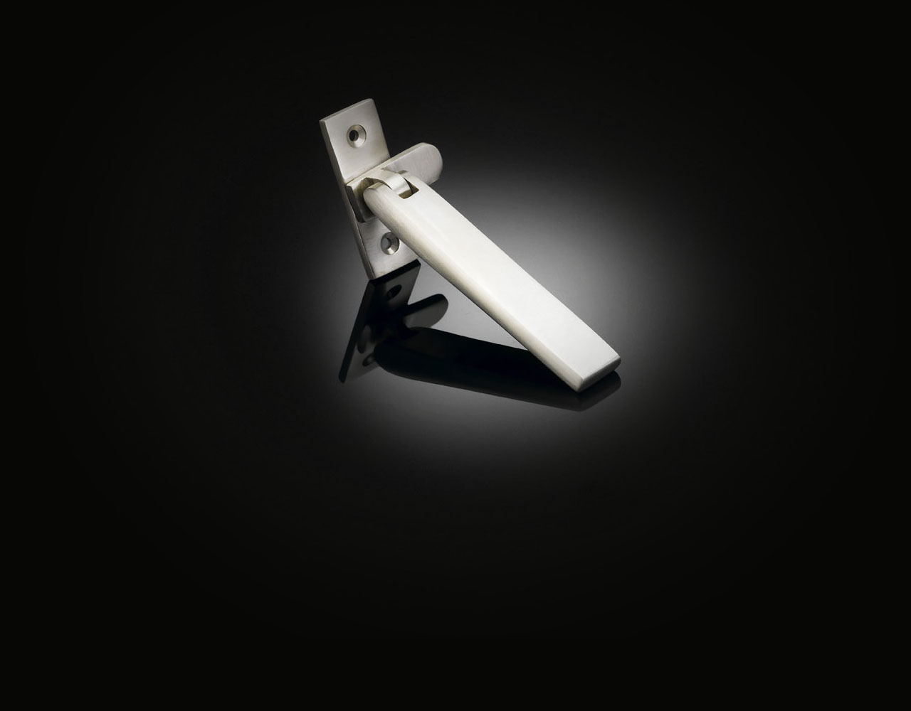 Bespoke window handle designed by Max Burchartz from izé in satin nickel finish MZW01