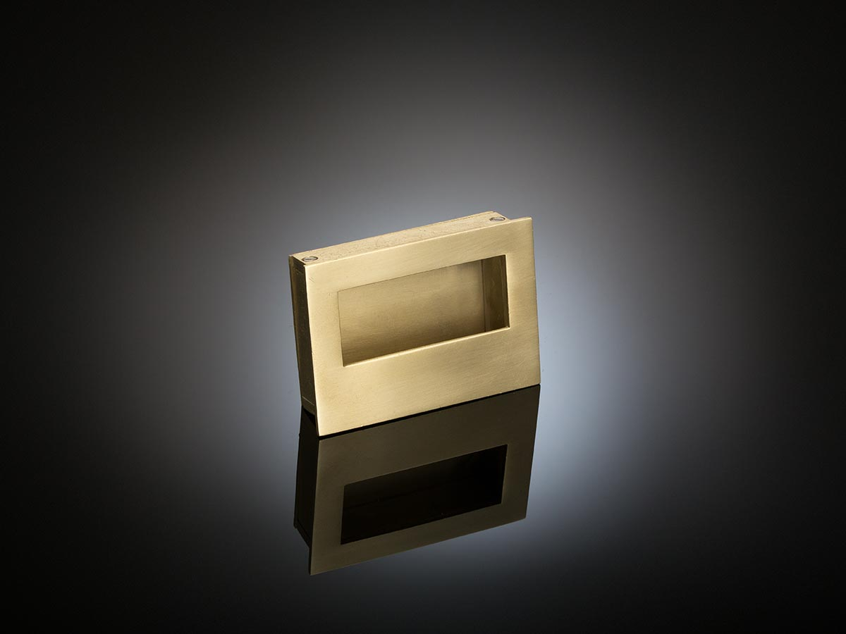 Vicky flush pull handle designed by Patrick and Claudia Lynch, Use on pivot, pocket and wardrobe doors, hand-crafted feel,