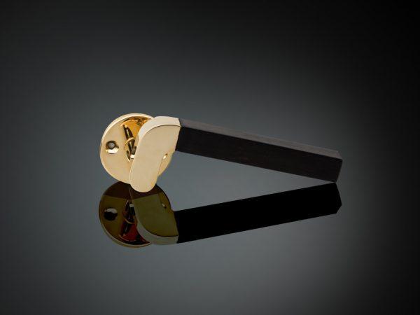 Ebony lever door handle designed by Juhani Pallasmaa, Venice Biennale, Made from bronze and ebony