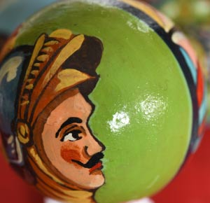 Traditionally painted Sicilian-design door knob